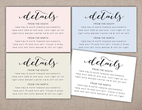 DETAILS Printable Card Wedding Details Details Card