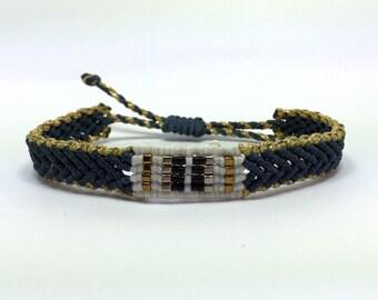 Denim blue and gold band bracelet