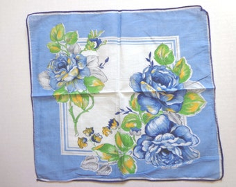 Vintage Hankie, Big Blue Roses and Other Flowers, Cotton Handkerchief, Hanky  FS