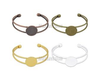 20mm Round Flat Glue Pad Bracelet Blank Base Blank Bracelet Cuff Bangle Bracelet Tray Bracelet Setting fit 20mm Round Cabochons 10 PCS M138