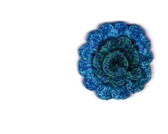 Blue wool crocheted flower