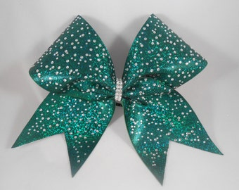 Hunter Forest Green (Kelly/Black Mystique) w s10 s6 Crystal Rhinestones Cheer Bow by BlingItOnCheerBowz