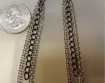 Silver/Black Chrome Chain Earrings