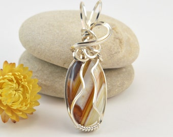Botswana Agate Pendant - Wire Wrapped Pendant - Botswana Agate Necklace - Wire Wrap Botswana - Botswana Agate Jewelry