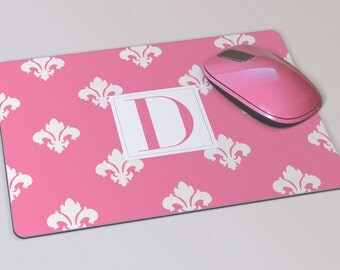 Fabric Mousepad, Mousemat, 5mm Black Rubber Base, 19 x 23 cm - Fleur De Lys Pink and White Patterned Monogrammed Mousepad Mousemat