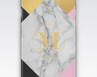Case for iPhone 8, iPhone 6s,  iPhone 6 Plus,  iPhone 5s,  iPhone SE,  iPhone 5c,  iPhone 7,  Pink White Marble & Gold Monogrammed