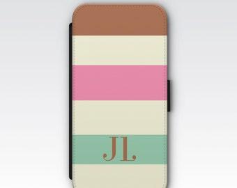 Wallet Case for iPhone 8 Plus, iPhone 8, iPhone 7 Plus, iPhone 7, iPhone 6, iPhone 6s, iPhone 5/5s - Ice Cream Stripes Monogram Case