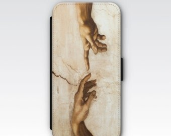 Wallet Case for iPhone 8 Plus, iPhone 8, iPhone 7 Plus, iPhone 7, iPhone 6, iPhone 6s, iPhone 5/5s - The Creation of Adam by Michaelangelo