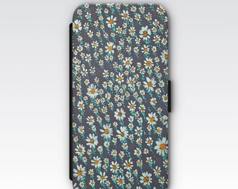 Wallet Case for iPhone 8 Plus, iPhone 8, iPhone 7 Plus, iPhone 7, iPhone 6, iPhone 6s, iPhone 5/5s - Ditsy daisy floral phone case