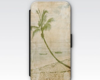 Wallet Case for iPhone 8 Plus, iPhone 8, iPhone 7 Plus, iPhone 7, iPhone 6, iPhone 6s, iPhone 5/5s -  Tropical Beach Palm Tree Case