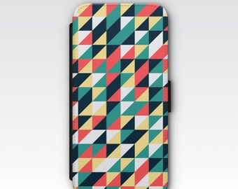 Wallet Case for iPhone 8 Plus, iPhone 8, iPhone 7 Plus, iPhone 7, iPhone 6, iPhone 6s, iPhone 5/5s - Retro Geometrical phone Case