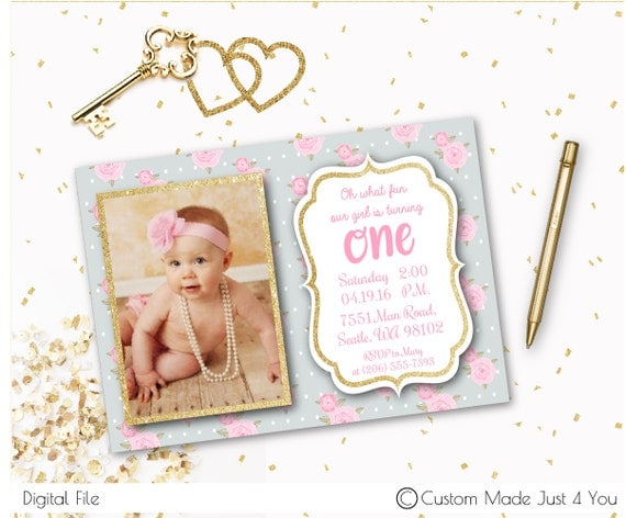 first birthday custom invite