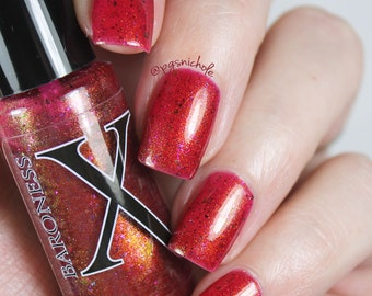 Molino - Shifty Ultrachrome Flakie Polish - Berry Red Jelly Polish, Unicorn Pee Pigment Shifts Gold to Blue, Red Polish
