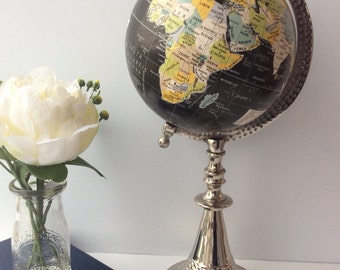 Black and silver tall mid sized globe