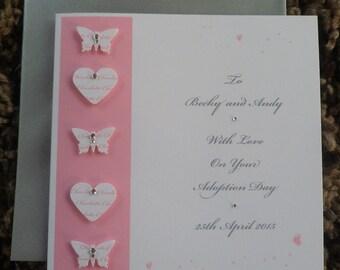 "Handmade Personalised 6"" Square Adoption Card"