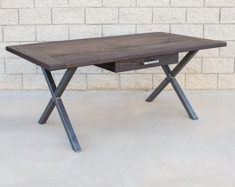 Industrial Style Reclaimed Wood and Steel Desk