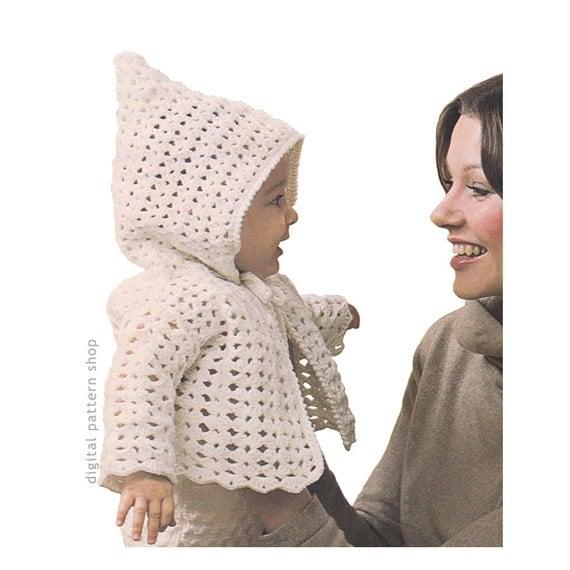 Crochet Pattern Baby Hoodie Pattern Vintage Hooded Jacket