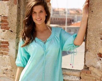 Turquoise cotton summer dress with cream embroidery