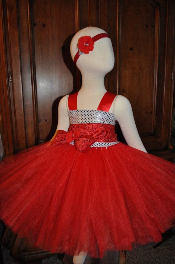 Red Silver Flower Girl Dress Girls Red Silver Dress Toddler