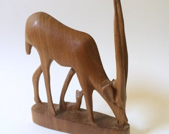 Hand Carved Wooden African Antelope Figurine