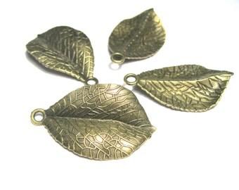 6pcs Large Antique Bronze Leaf Charm Pendant 35mm