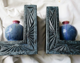 French Pierrefonds Crystalline  Bookends Circa 1910-1920 Art Nouveau