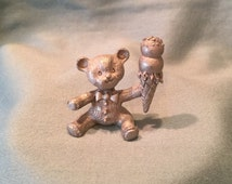 1987 Miniature Teddy Bear Double Scoop Ice Cream Cone Pewter Spoontiques Figurine. Fun Whimsical Animal Figurine. Adorable Vintage Gift