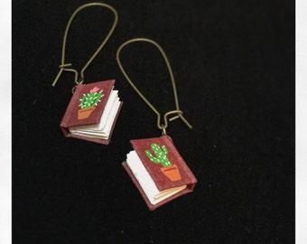 Custom Hand-painted Miniature Book Earrings