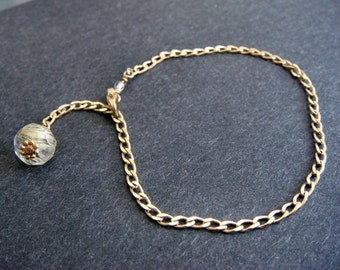 Solid Gold Rutilated Quartz Bracelet, 14kt Solid Gold Chain Bracelet, Rutilated Quartz Gold Bracelet, Solid Gold Bracelet, Handmade