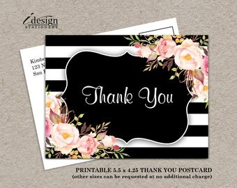Elegant Floral Black White Stripe Wedding Or Bridal Shower Thank You Card With Watercolor Flowers | Printable Striped Botanical Thank You