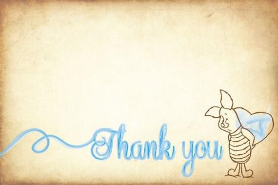 Classic Winnie The Pooh Birthday Thank You Cards  Boy or Girl (DIGITAL COPY)
