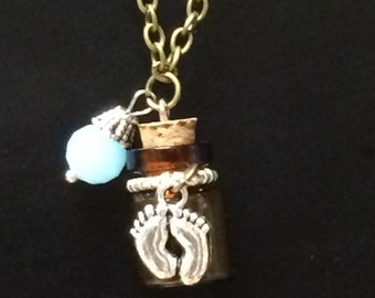 Memory Wish Aromatherapy keepsake bottle necklace Footprints feet