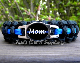"Police ""Mom"" Thin Blue Line Bracelet, Paracord Bracelet, Proud Mom, Law Enforcement, Police Officer Mom, Support, Women's Bracelet, Gift"