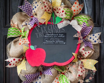 Teacher Wreath-classroom wreath-Teacher Appreciation Gift-Burlap Wreath-Chalkboard Apple-Burlap Wreath-Daycare Wreath