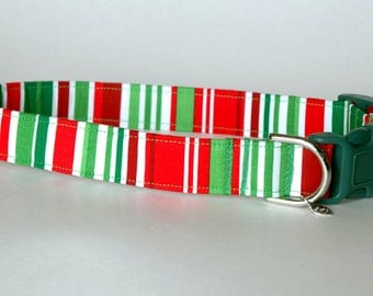 "Handmade Christmas Striped Design Dog Collar ""New"""