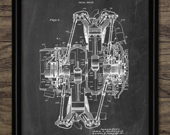 Aircraft Engine Patent Print - 1953 Radial Aircraft Engine - Aircraft Engine Design - Aviation Art - Single Print #1908 - INSTANT DOWNLOAD