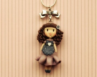 Dolly Chic necklace-handmade creation--polymer clay-polymer clay