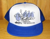 California Raisins 'I Heard It Through The Grapevine' Original Vintage 80s 'YOUTH Size' Snapback Hat Blue Mesh Trucker Cap Motown Retro Lid