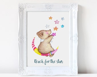 Reach for the stars, nursery print, wall art, watercolor bear, new baby gift, illustration, cute bear, prints, nursery quote