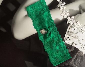 DIY Green Wedding Garter Unique Emerald Lace Belt With Daisy Jade