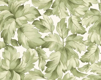 Gentle Breeze Cream/Green Leaves (8514-E) Gentle Breeze Collection by Maywood Studio Fabric Yardage