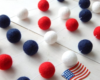Fourth of July Garland, 4th of July, Nautical Garland, Patriotic Party Decor, Felt Ball Garland, Pom Pom Garland, Navy,  Red White and Blue