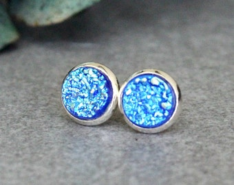 Blue Stud Earrings, Blue Earrings, Blue Druzy Earring Studs, Blue Post Earrings, Blue Bridesmaid Earrings, Blue Druzy Earrings, Blue Earring