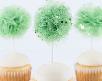 Green Confetti Tulle Pom- Limited edition- St. Patricks Day- Tulle pom pom- Tulle poms- Cupcake topper - Tulle pompoms