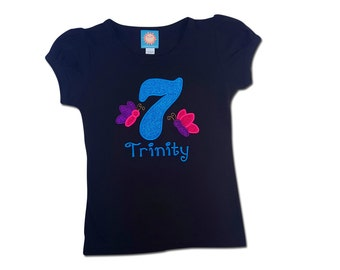 Girl's Butterfly Birthday Shirt with Glitter Number and Name