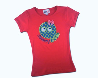 Girl's Pink Cutie Octopus Shirt with Embroidered Name