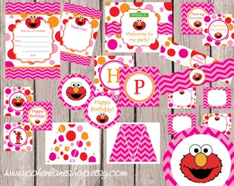 INSTANT DOWNLOAD.Printable Elmo Birthday Party Package. Digital You Print Party Package. Elmo Package. Chevron Birthday Party Pack.