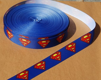 Superman printed grosgrain ribbon for hair bows, scrapbooking, other crafts - sold in lengths of 1, 3, or 5 yards - M1660