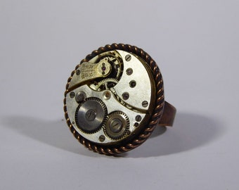 Ring copper  vintage steampunk swiss movement