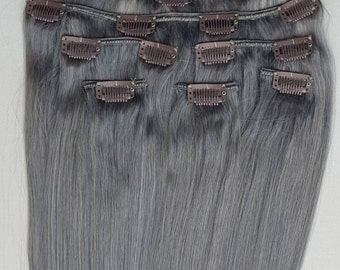 "Silver Clip In REMY Human Hair Extensions 20"" Grey Gray 120 / 180 / 240 grams"